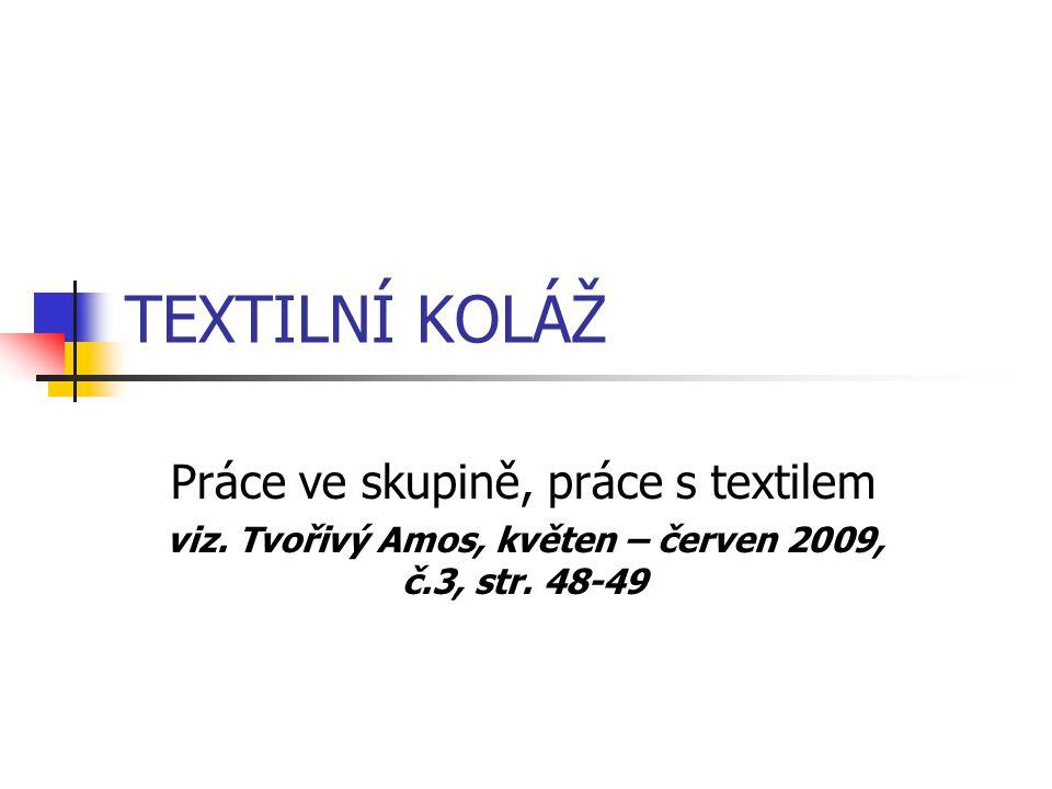 TEXTILNÍ KOLÁŽ Práce ve skupině, práce s textilem viz.