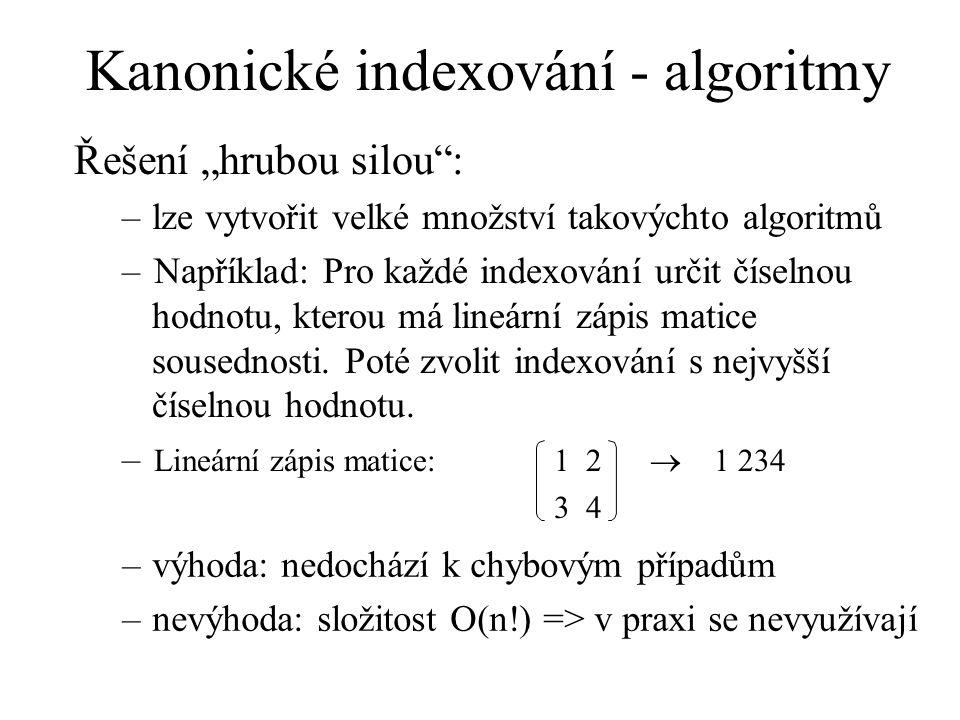 """Kanonické indexování - algoritmy Řešení """"hrubou silou"""": –lze vytvořit velké množství takovýchto algoritmů –Například: Pro každé indexování určit čísel"""