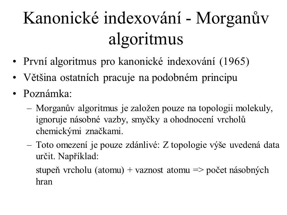 Kanonické indexování - Morganův algoritmus První algoritmus pro kanonické indexování (1965) Většina ostatních pracuje na podobném principu Poznámka: –Morganův algoritmus je založen pouze na topologii molekuly, ignoruje násobné vazby, smyčky a ohodnocení vrcholů chemickými značkami.