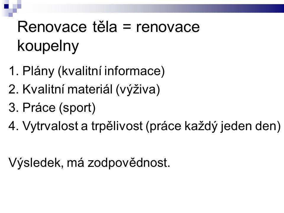 Renovace těla = renovace koupelny 1. Plány (kvalitní informace) 2. Kvalitní materiál (výživa) 3. Práce (sport) 4. Vytrvalost a trpělivost (práce každý