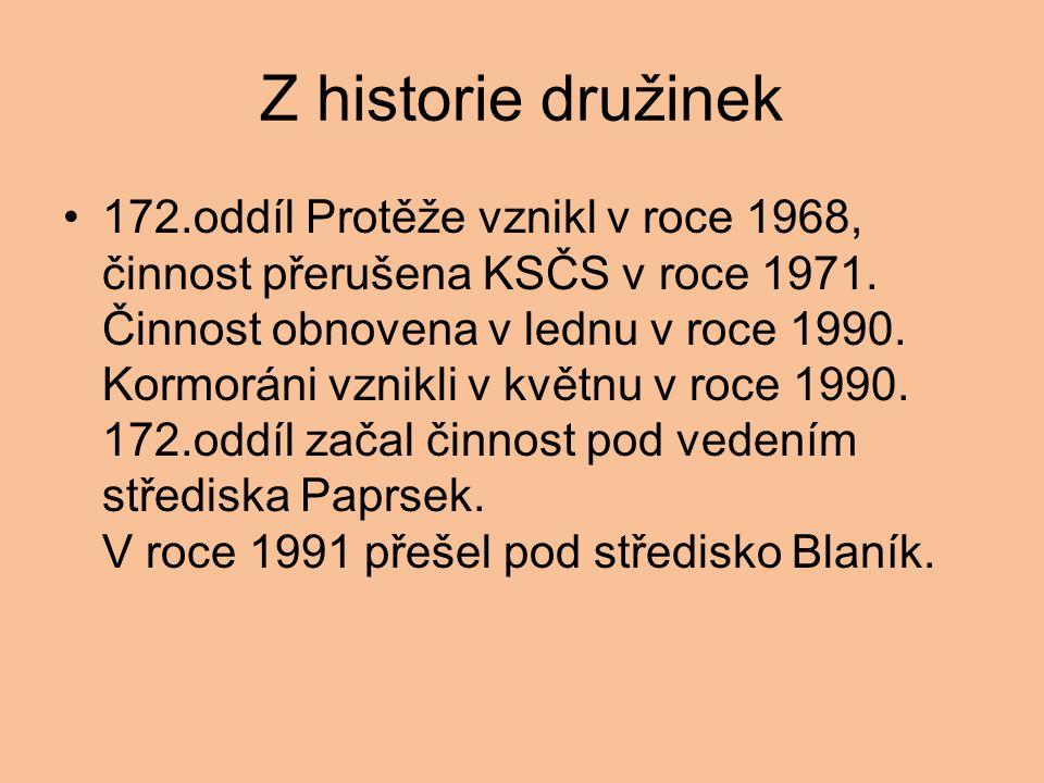 Z historie družinek 172.oddíl Protěže vznikl v roce 1968, činnost přerušena KSČS v roce 1971. Činnost obnovena v lednu v roce 1990. Kormoráni vznikli