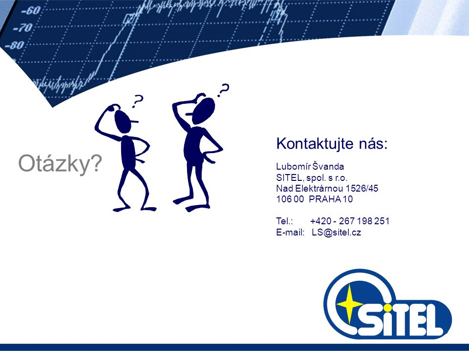 Otázky? Kontaktujte nás: Lubomír Švanda SITEL, spol. s r.o. Nad Elektrárnou 1526/45 106 00 PRAHA 10 Tel.: +420 - 267 198 251 E-mail: LS@sitel.cz