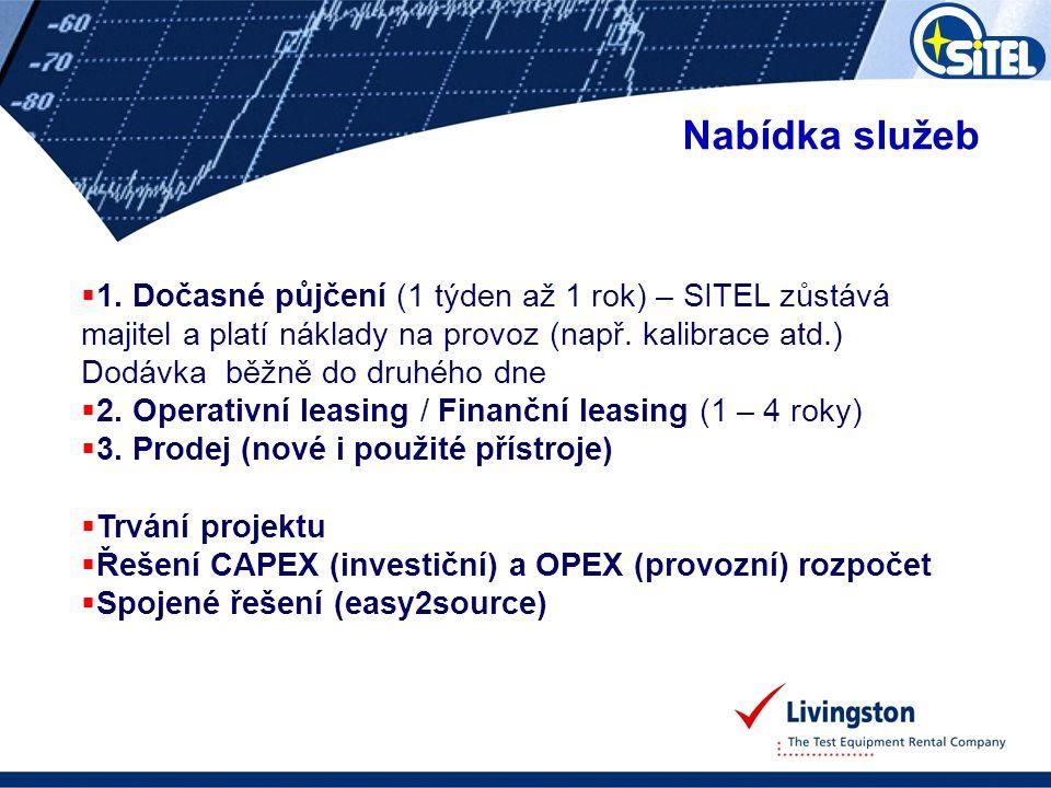 Nabídka služeb  1. Dočasné půjčení (1 týden až 1 rok) – SITEL zůstává majitel a platí náklady na provoz (např. kalibrace atd.) Dodávka běžně do druhé