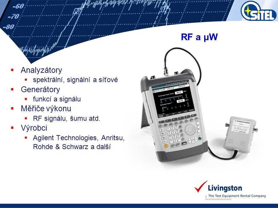  Analyzátory  spektrální, signální a síťové  Generátory  funkcí a signálu  Měřiče výkonu  RF signálu, šumu atd.  Výrobci  Agilent Technologies