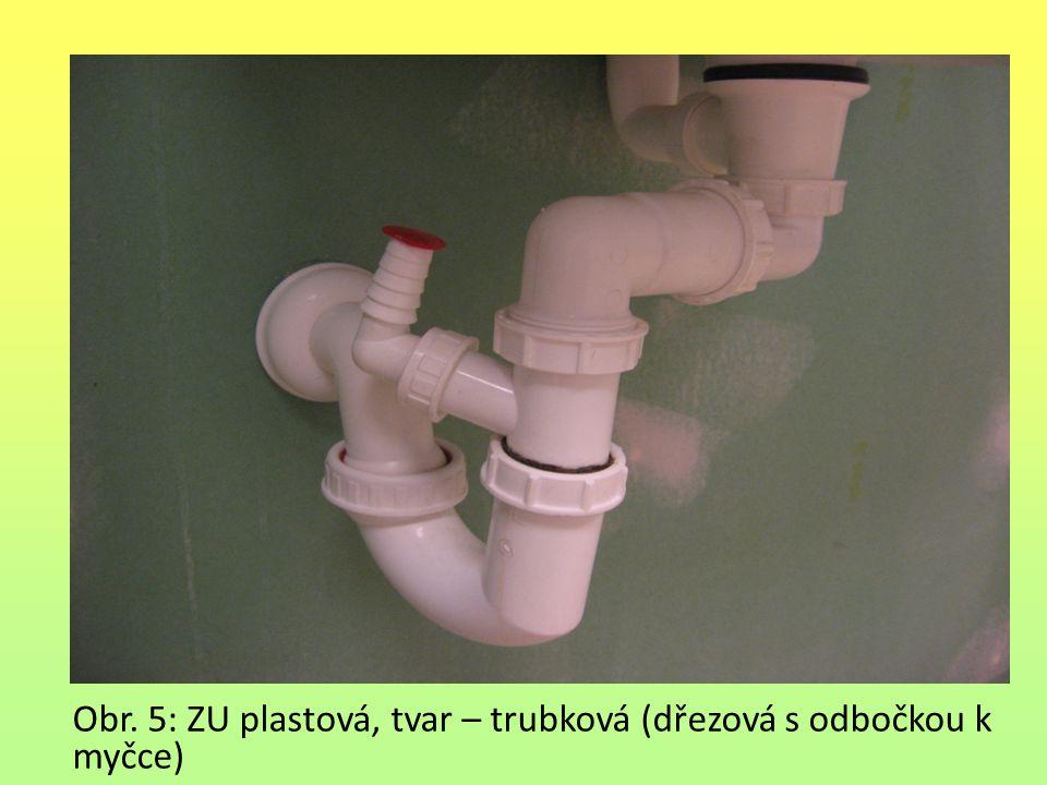 Obr. 5: ZU plastová, tvar – trubková (dřezová s odbočkou k myčce)