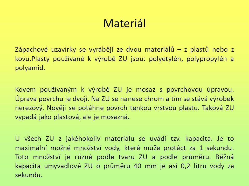 Materiál Zápachové uzavírky se vyrábějí ze dvou materiálů – z plastů nebo z kovu.Plasty používané k výrobě ZU jsou: polyetylén, polypropylén a polyami