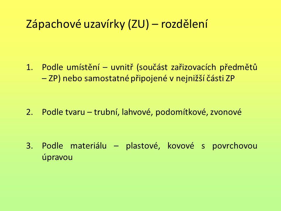 Zápachové uzavírky (ZU) – rozdělení 1.Podle umístění – uvnitř (součást zařizovacích předmětů – ZP) nebo samostatné připojené v nejnižší části ZP 2.Pod