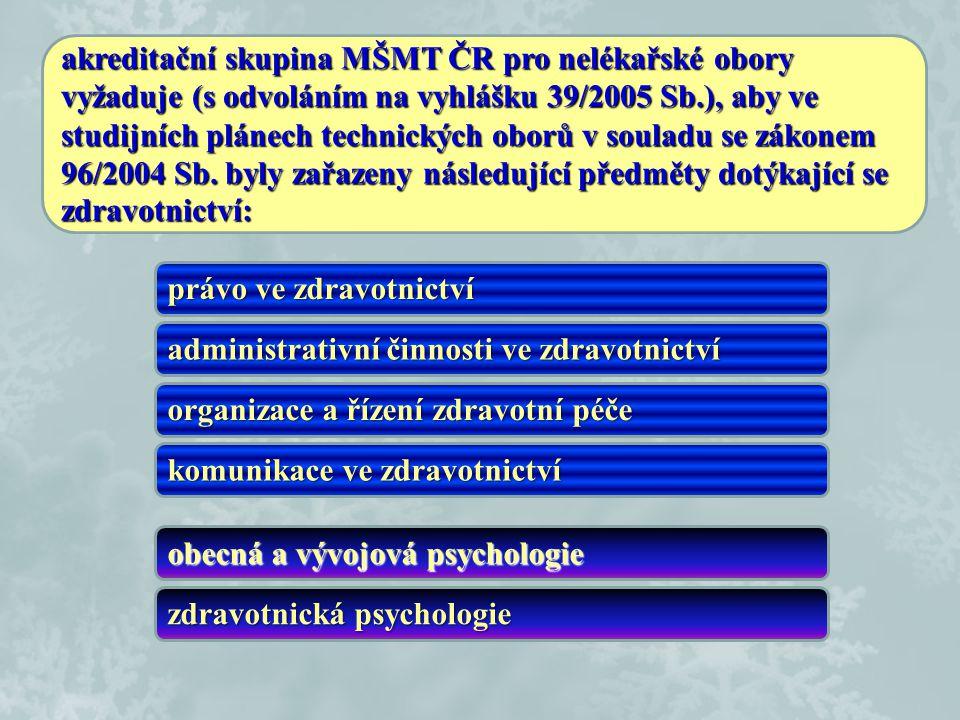 akreditační skupina MŠMT ČR pro nelékařské obory vyžaduje (s odvoláním na vyhlášku 39/2005 Sb.), aby ve studijních plánech technických oborů v souladu