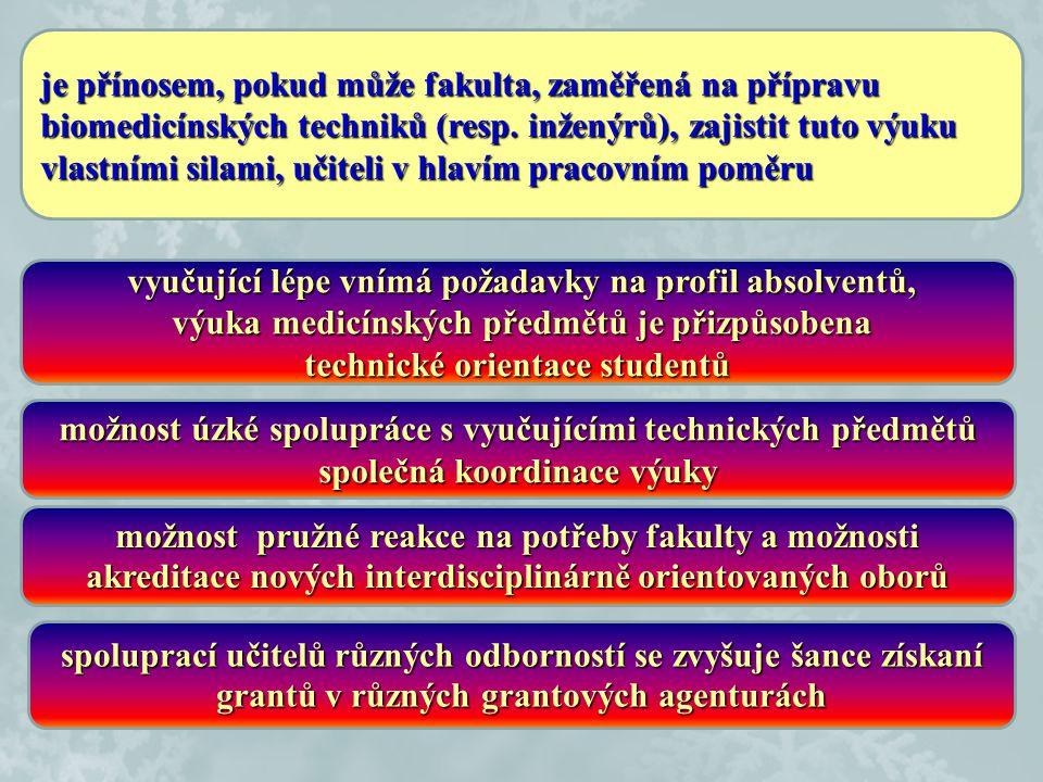 je přínosem, pokud může fakulta, zaměřená na přípravu biomedicínských techniků (resp. inženýrů), zajistit tuto výuku vlastními silami, učiteli v hlaví