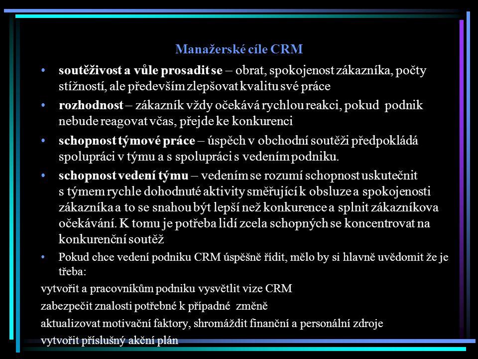 Manažerské cíle CRM soutěživost a vůle prosadit se – obrat, spokojenost zákazníka, počty stížností, ale především zlepšovat kvalitu své práce rozhodno