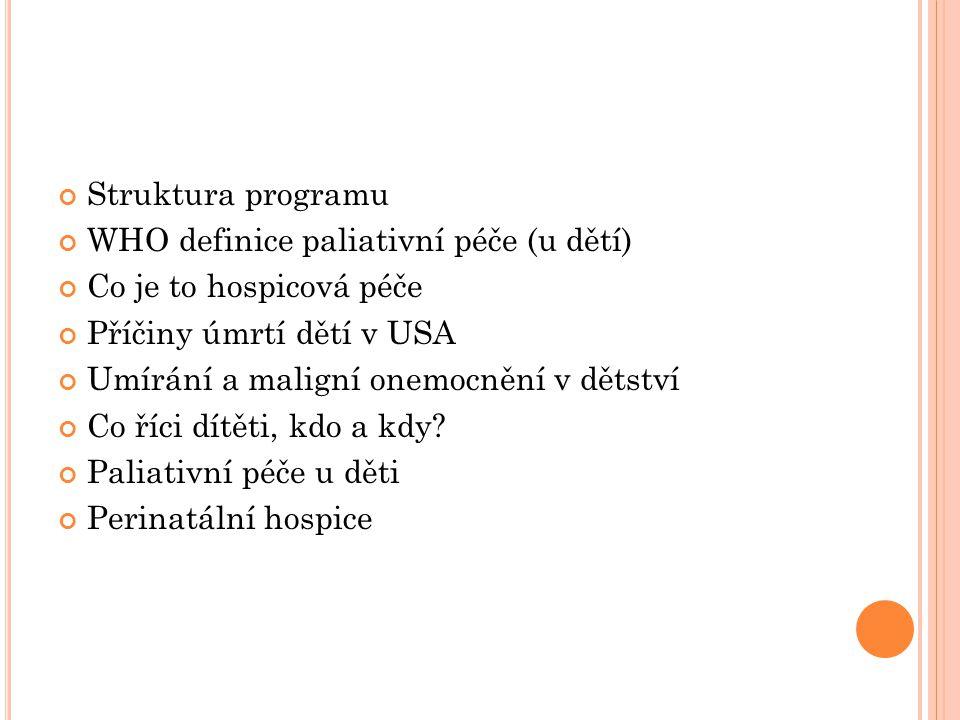 Struktura programu WHO definice paliativní péče (u dětí) Co je to hospicová péče Příčiny úmrtí dětí v USA Umírání a maligní onemocnění v dětství Co ří