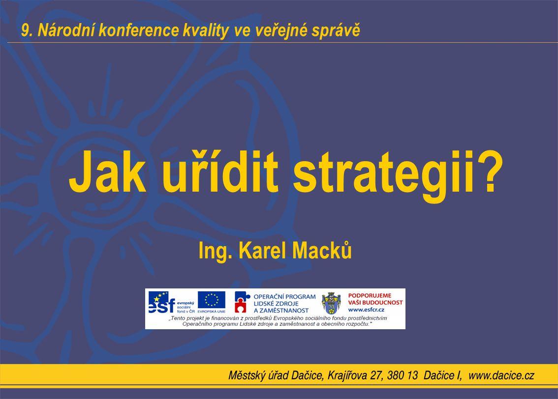 9. Národní konference kvality ve veřejné správě Jak uřídit strategii? Ing. Karel Macků