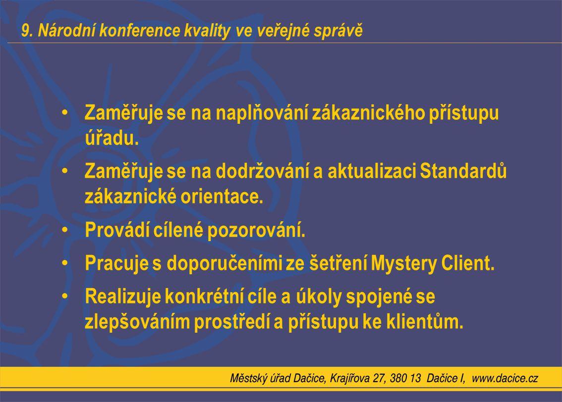 9. Národní konference kvality ve veřejné správě Zaměřuje se na naplňování zákaznického přístupu úřadu. Zaměřuje se na dodržování a aktualizaci Standar