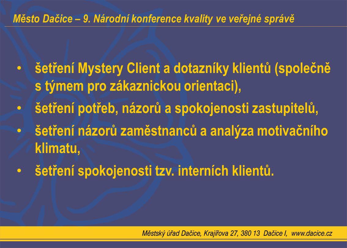 Město Dačice – 9. Národní konference kvality ve veřejné správě šetření Mystery Client a dotazníky klientů (společně s týmem pro zákaznickou orientaci)