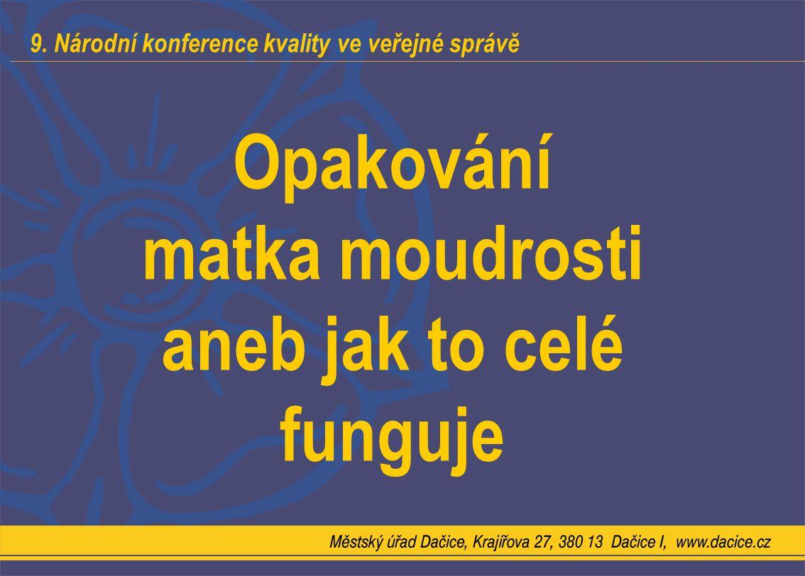 9. Národní konference kvality ve veřejné správě Opakování matka moudrosti aneb jak to celé funguje