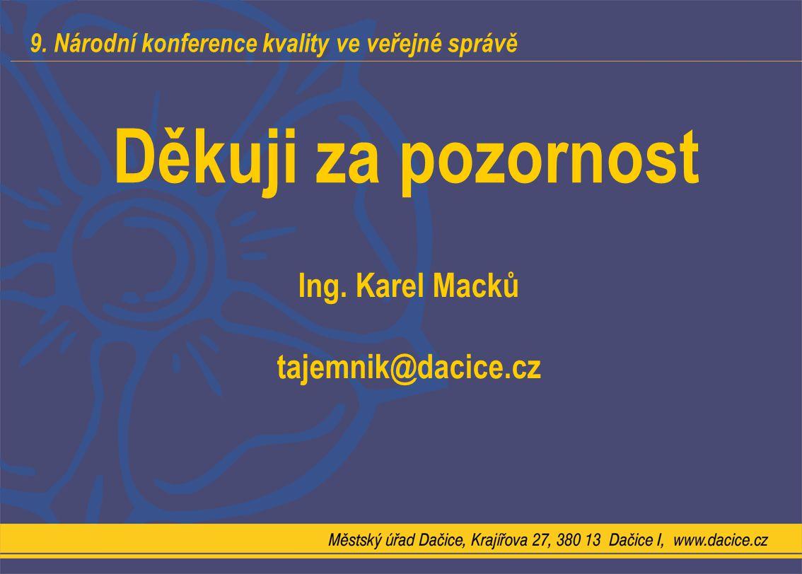9. Národní konference kvality ve veřejné správě Děkuji za pozornost Ing. Karel Macků tajemnik@dacice.cz