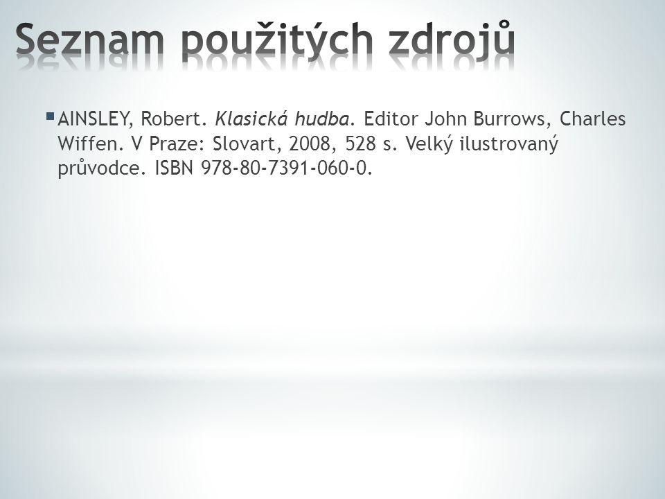  AINSLEY, Robert. Klasická hudba. Editor John Burrows, Charles Wiffen.