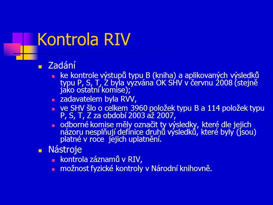 Kontrola RIV Zadání ke kontrole výstupů typu B (kniha) a aplikovaných výsledků typu P, S, T, Z byla vyzvána OK SHV v červnu 2008 (stejně jako ostatní komise); zadavatelem byla RVV, ve SHV šlo o celkem 3960 položek typu B a 114 položek typu P, S, T, Z za období 2003 až 2007, odborné komise měly označit ty výsledky, které dle jejich názoru nesplňují definice druhů výsledků, které byly (jsou) platné v roce jejich uplatnění.