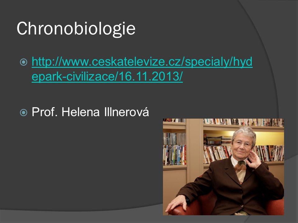 Chronobiologie  http://www.ceskatelevize.cz/specialy/hyd epark-civilizace/16.11.2013/ http://www.ceskatelevize.cz/specialy/hyd epark-civilizace/16.11.2013/  Prof.