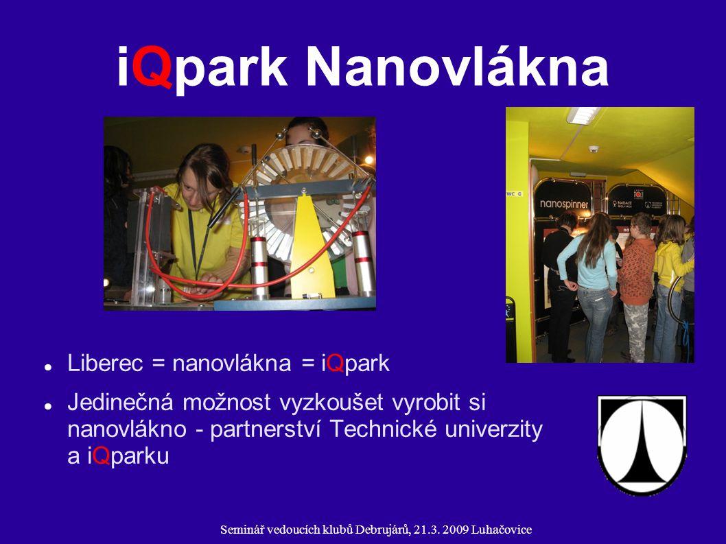 Seminář vedoucích klubů Debrujárů, 21.3. 2009 Luhačovice iQpark Nanovlákna Liberec = nanovlákna = iQpark Jedinečná možnost vyzkoušet vyrobit si nanovl