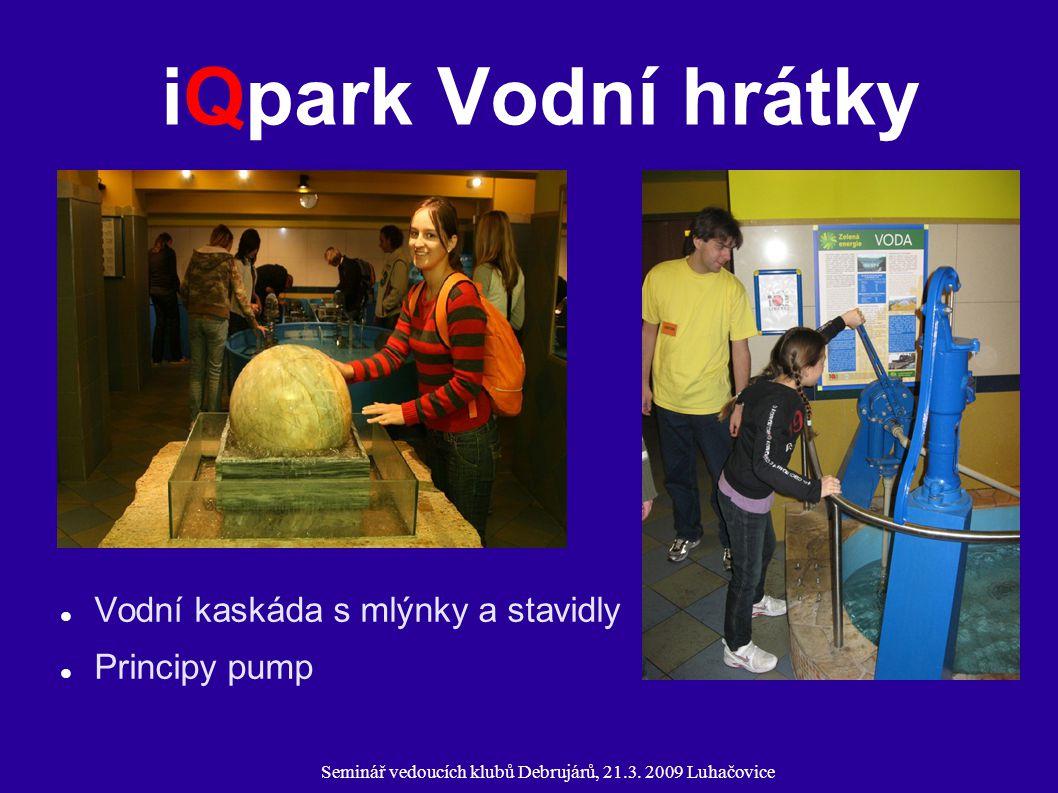 Seminář vedoucích klubů Debrujárů, 21.3. 2009 Luhačovice iQpark Vodní hrátky Vodní kaskáda s mlýnky a stavidly Principy pump