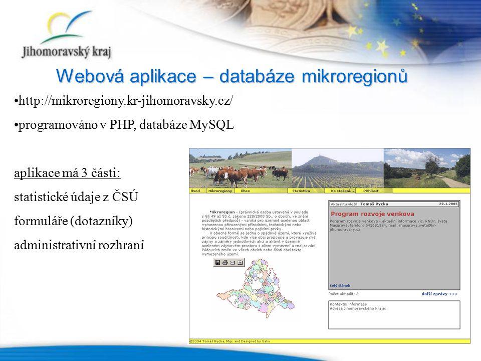Webová aplikace – databáze mikroregionů http://mikroregiony.kr-jihomoravsky.cz/ programováno v PHP, databáze MySQL aplikace má 3 části: statistické údaje z ČSÚ formuláře (dotazníky) administrativní rozhraní