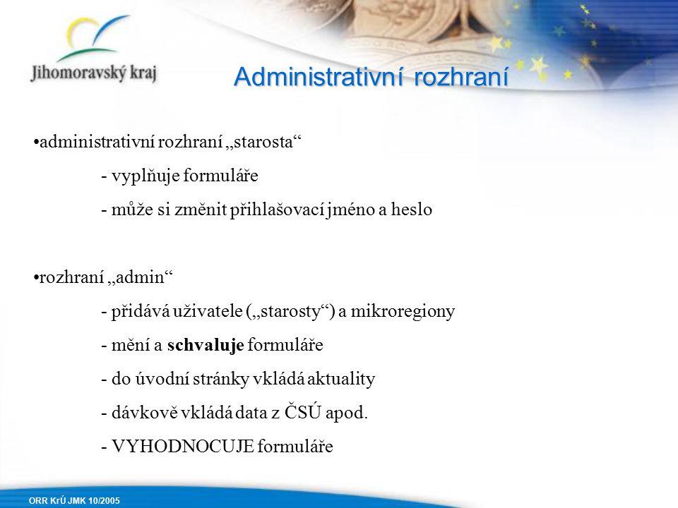 """ORR KrÚ JMK 10/2005 Administrativní rozhraní administrativní rozhraní """"starosta - vyplňuje formuláře - může si změnit přihlašovací jméno a heslo rozhraní """"admin - přidává uživatele (""""starosty ) a mikroregiony - mění a schvaluje formuláře - do úvodní stránky vkládá aktuality - dávkově vkládá data z ČSÚ apod."""