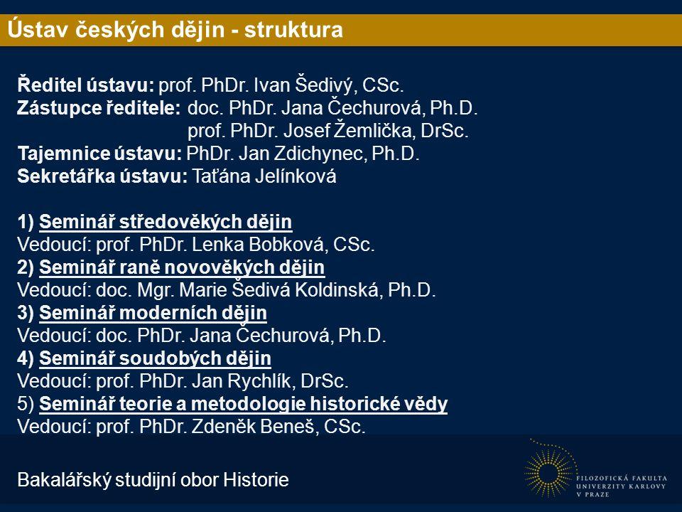 Ústav českých dějin - struktura Ředitel ústavu: prof.