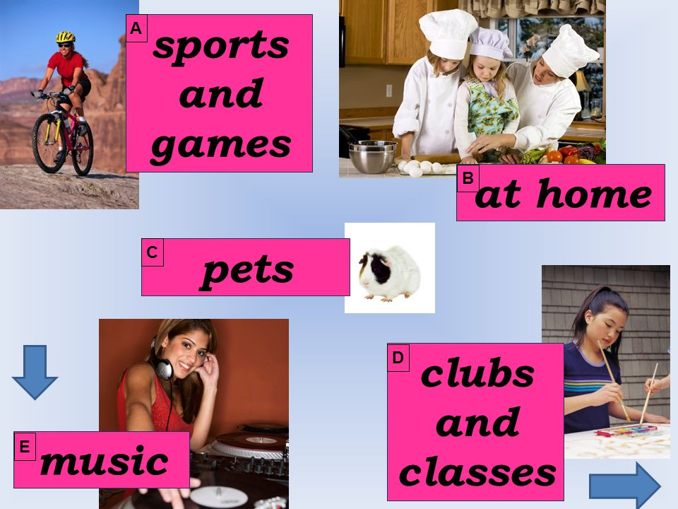 play x do I play I do computer games sports tennis judo my homework yoga in the playground weight-training