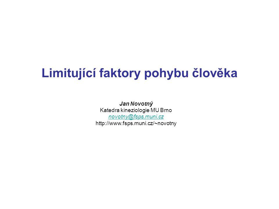 Limitující faktory pohybu člověka Jan Novotný Katedra kineziologie MU Brno novotny@fsps.muni.cz http://www.fsps.muni.cz/~novotny