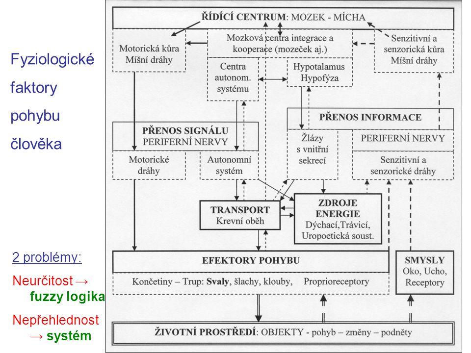 Fyziologické faktory pohybu člověka 2 problémy: Neurčitost → fuzzy logika Nepřehlednost → systém