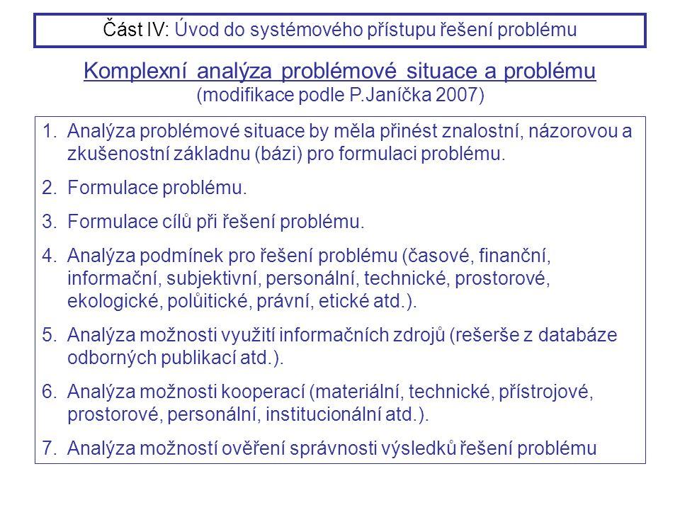 1.Analýza problémové situace by měla přinést znalostní, názorovou a zkušenostní základnu (bázi) pro formulaci problému. 2.Formulace problému. 3.Formul