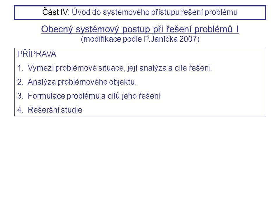 PŘÍPRAVA 1.Vymezí problémové situace, její analýza a cíle řešení. 2.Analýza problémového objektu. 3.Formulace problému a cílů jeho řešení 4.Rešeršní s