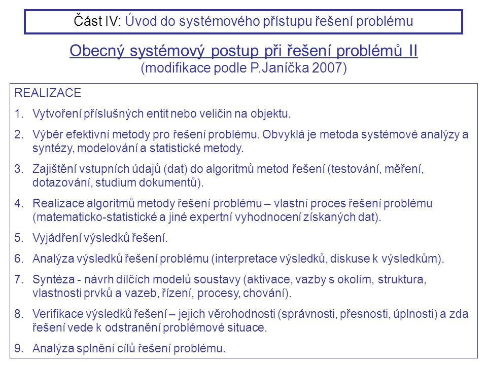 REALIZACE 1.Vytvoření příslušných entit nebo veličin na objektu. 2.Výběr efektivní metody pro řešení problému. Obvyklá je metoda systémové analýzy a s