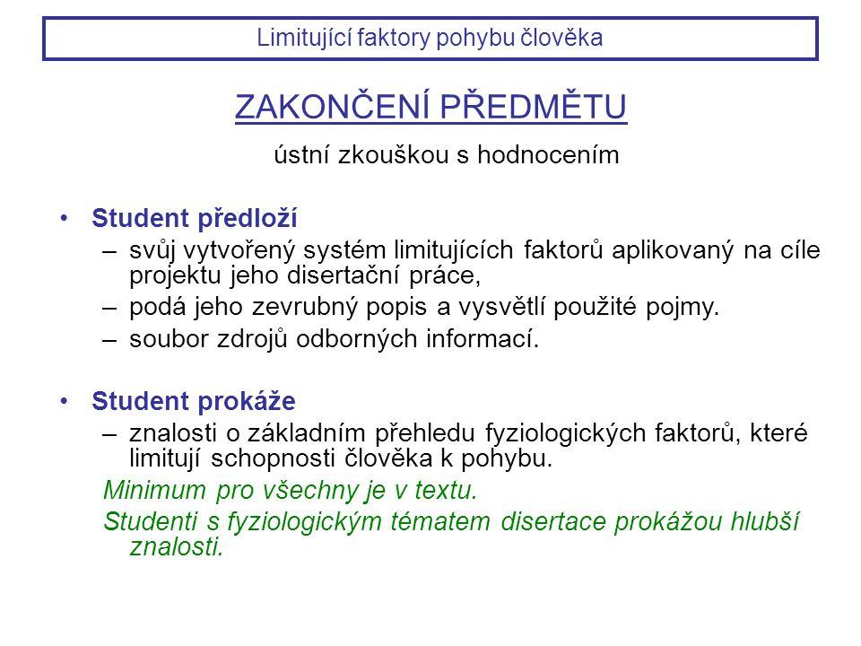 ZAKONČENÍ PŘEDMĚTU ústní zkouškou s hodnocením Student předloží –svůj vytvořený systém limitujících faktorů aplikovaný na cíle projektu jeho disertačn