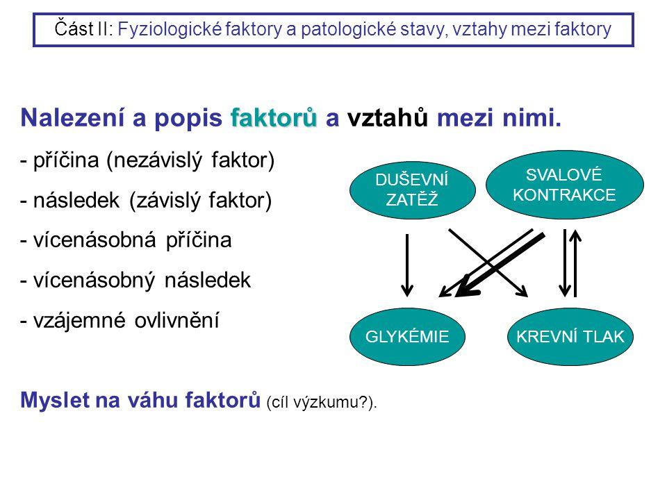 faktorů Nalezení a popis faktorů a vztahů mezi nimi. - příčina (nezávislý faktor) - následek (závislý faktor) - vícenásobná příčina - vícenásobný násl