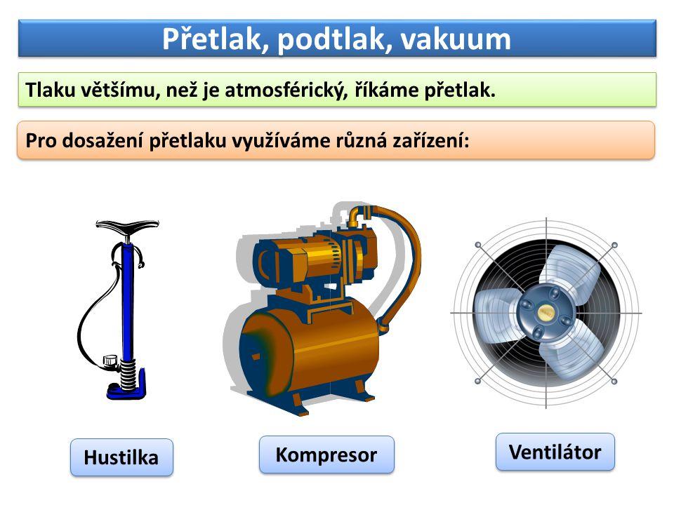 Přetlak, podtlak, vakuum Tlaku většímu, než je atmosférický, říkáme přetlak. Pro dosažení přetlaku využíváme různá zařízení: Hustilka Kompresor Ventil
