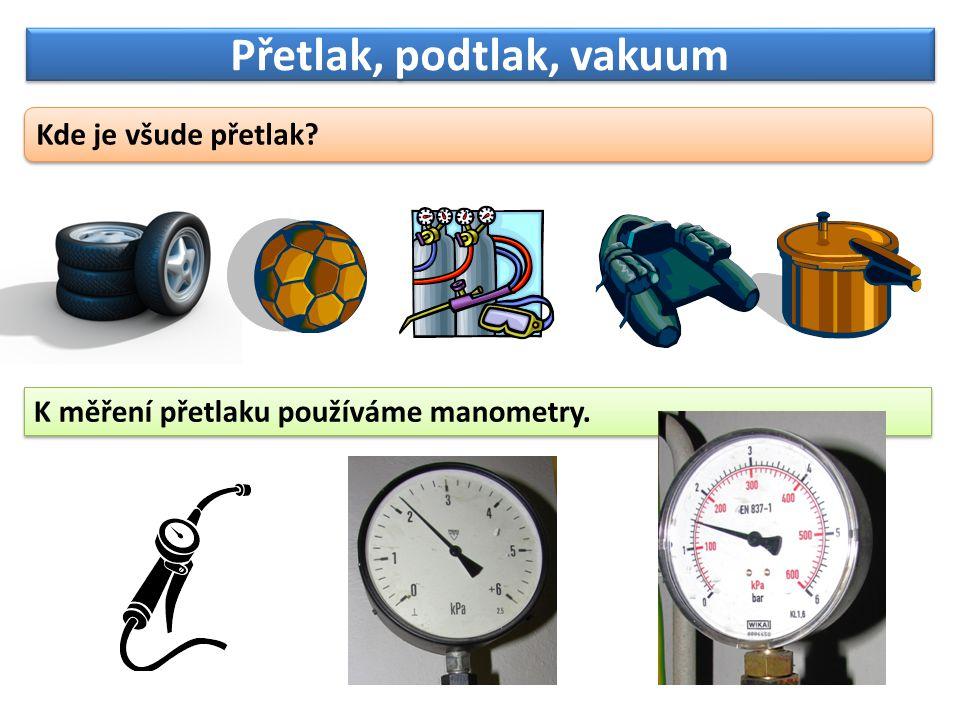 Přetlak, podtlak, vakuum O podtlaku mluvíme, má-li plyn v nádobě tlak nižší než atmosférický.