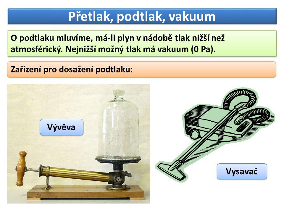 Přetlak, podtlak, vakuum O podtlaku mluvíme, má-li plyn v nádobě tlak nižší než atmosférický. Nejnižší možný tlak má vakuum (0 Pa). Zařízení pro dosaž