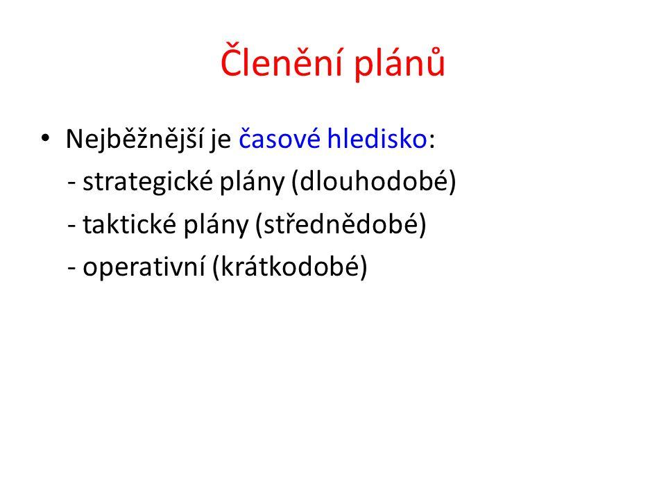 Členění plánů Nejběžnější je časové hledisko: - strategické plány (dlouhodobé) - taktické plány (střednědobé) - operativní (krátkodobé)