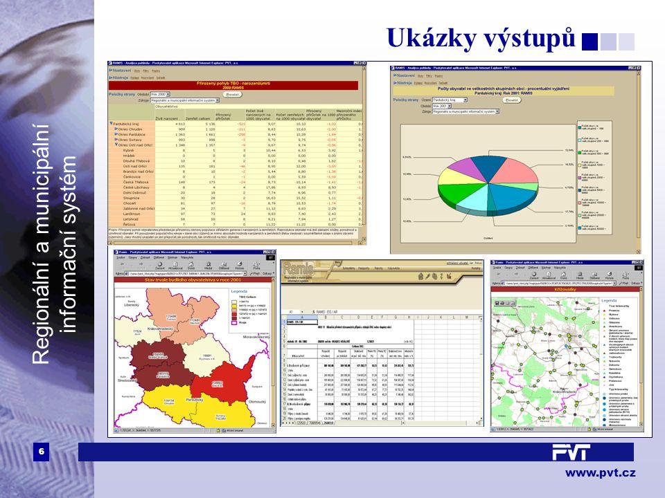 6 www.pvt.cz Regionální a municipální informační systém Ukázky výstupů