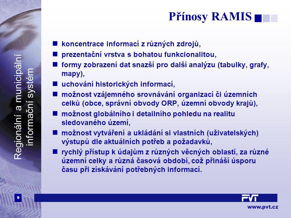 9 www.pvt.cz Regionální a municipální informační systém Přínosy RAMIS koncentrace informací z různých zdrojů, prezentační vrstva s bohatou funkcionali