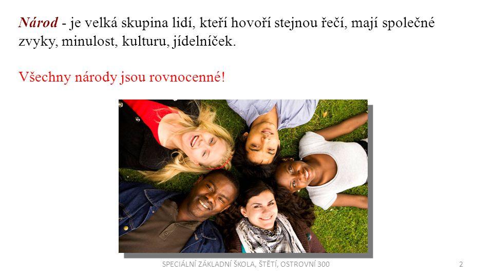 Národnost je příslušnost osoby k určitému národu, přičemž národ se chápe jako společenství, na jehož utváření mají největší vliv společné dějiny, společná kultura a společné území a jehož členové mají také povědomí sounáležitosti s tímto společenstvím.národu Národnosti v ČR: - ČESKÁ - MORAVSKÁ - SLOVENSKÁ - SLEZSKÁ - POLSKÁ - MAĎARSKÁ - NĚMECKÁ - VIETNAMSKÁ - RÓMSKÁ Národnostní menšiny v ČR SPECIÁLNÍ ZÁKLADNÍ ŠKOLA, ŠTĚTÍ, OSTROVNÍ 3003