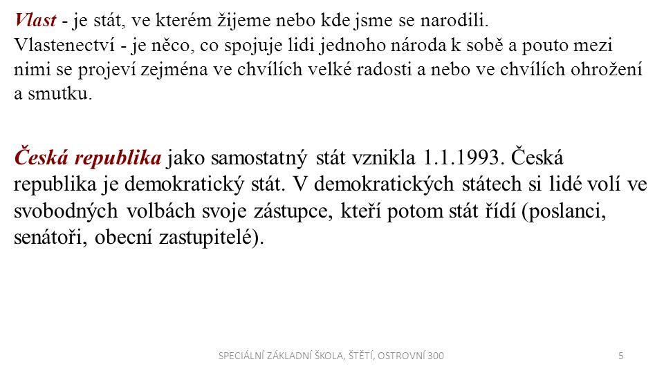 6SPECIÁLNÍ ZÁKLADNÍ ŠKOLA, ŠTĚTÍ, OSTROVNÍ 300 Kraje České republiky Slovem kraj označujeme část území státu, která má určité společné znaky (společný typ krajiny, stejné nářečí, lidové zvyky a podobně).