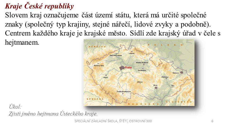 6SPECIÁLNÍ ZÁKLADNÍ ŠKOLA, ŠTĚTÍ, OSTROVNÍ 300 Kraje České republiky Slovem kraj označujeme část území státu, která má určité společné znaky (společný