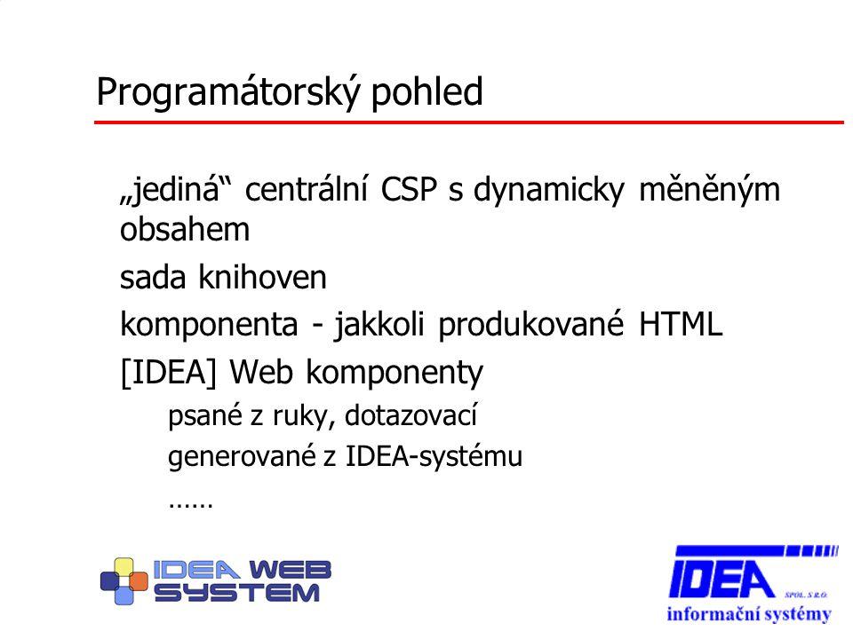"""Programátorský pohled """"jediná"""" centrální CSP s dynamicky měněným obsahem sada knihoven komponenta - jakkoli produkované HTML [IDEA] Web komponenty – p"""