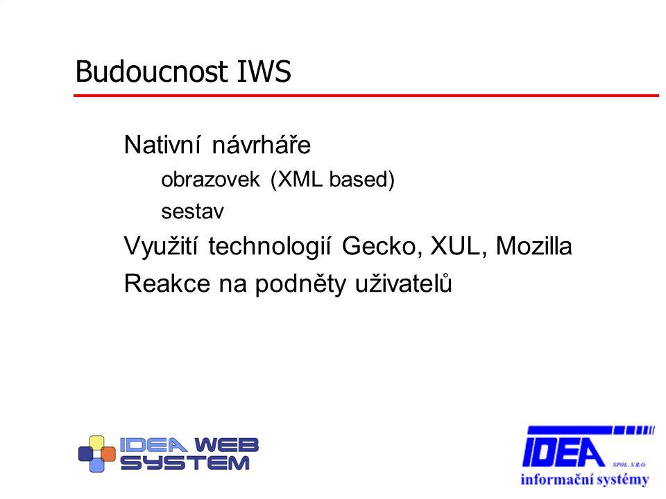 Budoucnost IWS Nativní návrháře – obrazovek (XML based) – sestav Využití technologií Gecko, XUL, Mozilla Reakce na podněty uživatelů