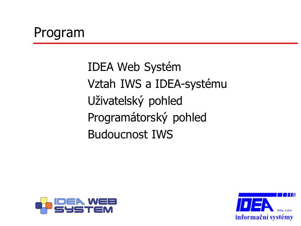 IDEA Web Systém (IWS) provozní a vývojové prostředí pro webové aplikace infrastruktura pro provoz aplikací – přihlašování – menu – desktop + systém oken – správa zdrojů a prostředí každého okna
