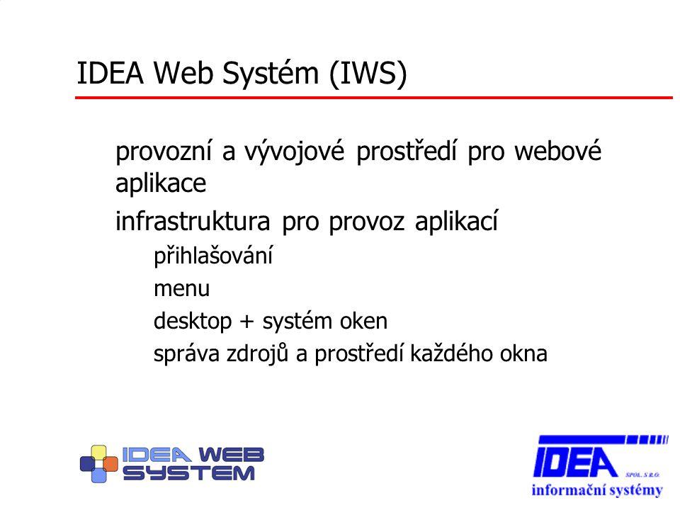 IDEA Web Systém (IWS) provozní a vývojové prostředí pro webové aplikace infrastruktura pro provoz aplikací – přihlašování – menu – desktop + systém ok