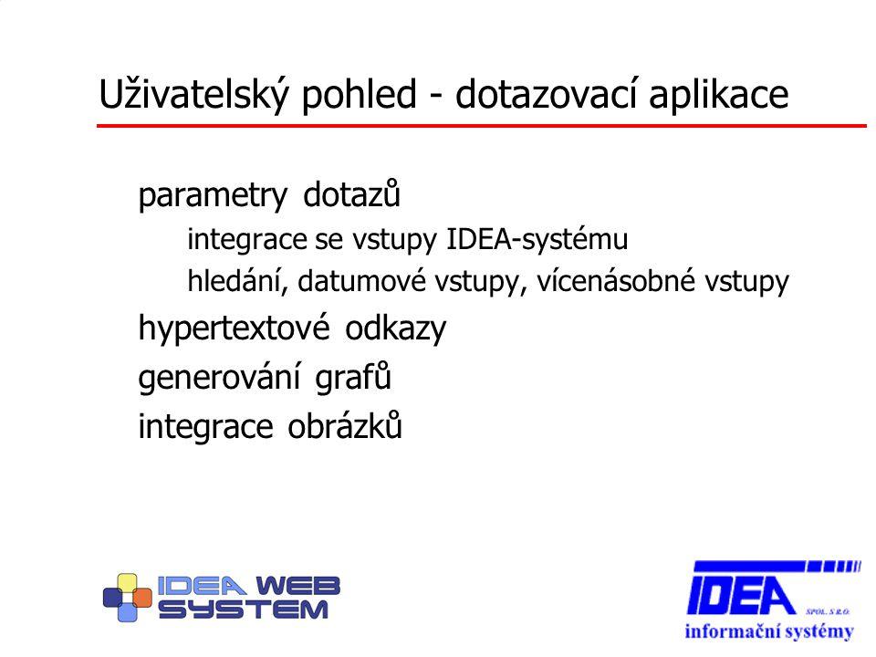 Uživatelský pohled - dotazovací aplikace parametry dotazů – integrace se vstupy IDEA-systému – hledání, datumové vstupy, vícenásobné vstupy hypertexto